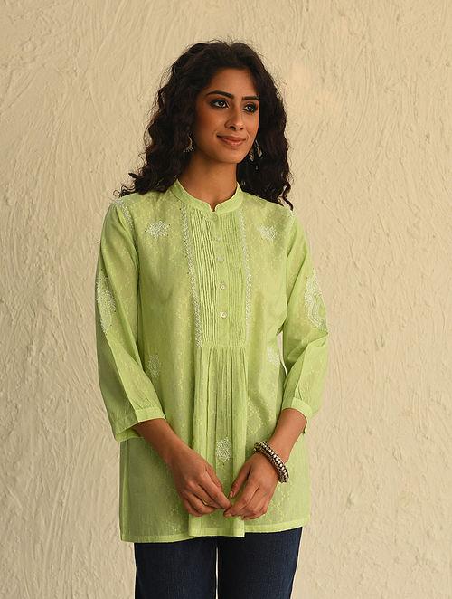Green Chikankari Cotton Short Kurta with Mukaish