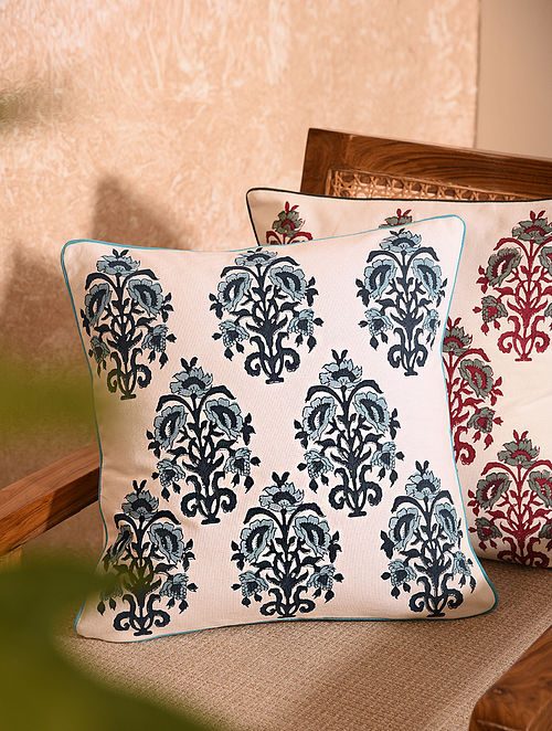 Blue Handblock Printed Cushion Cover (L-16in, W-16in)