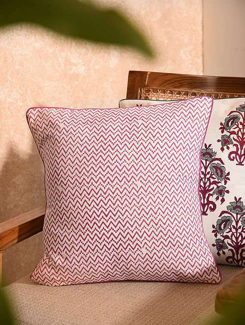 Pink Handblock Printed Cushion Cover (L-16in, W-16in)