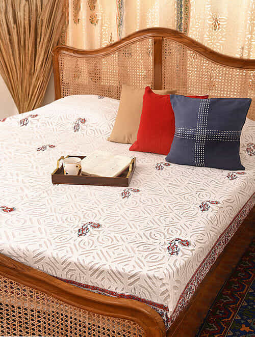 Hand Crafted Applique Cotton Block Printed Double Bedcover (L - 101in, W - 88in)