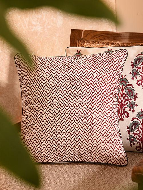 Maroon Handblock Printed Cushion Cover (L-16in, W-16in)