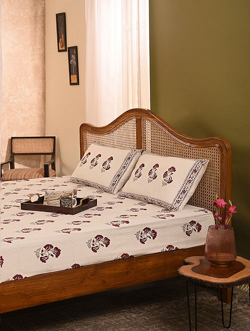 Pink and Grey Handblock Printed Double Bedsheet Set of 3