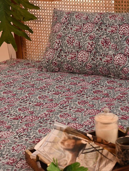 Multicolored Hand Block Printed Double Bedsheet Set of 3