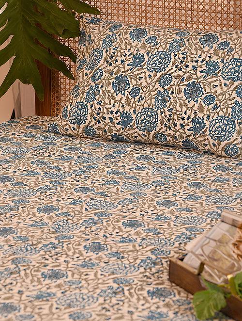 Blue and Grey Handblock Printed Double Bedsheet Set of 3