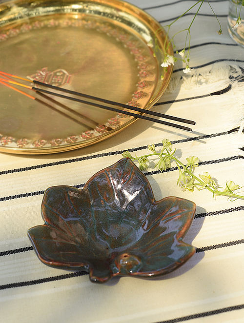 Green and Brown Incense Holder (L-4.6in, W-5.1in)