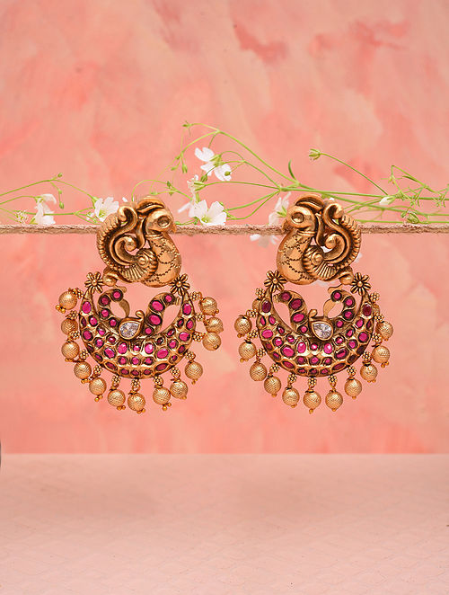 Pink Gold Tone Temple Work Earrings