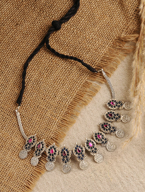 Maroon Blue Temple Silver Necklace with Pearls