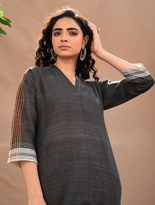 Black Natural Dyed Handloom Tangaliya Kurta