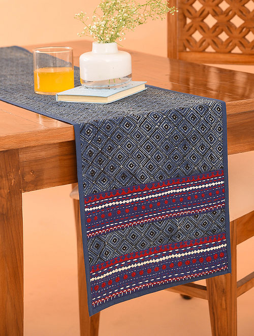 Multicolor Cotton Gudri Embroidered Ajrakh Printed Table Runner (L - 72in, W - 13in)