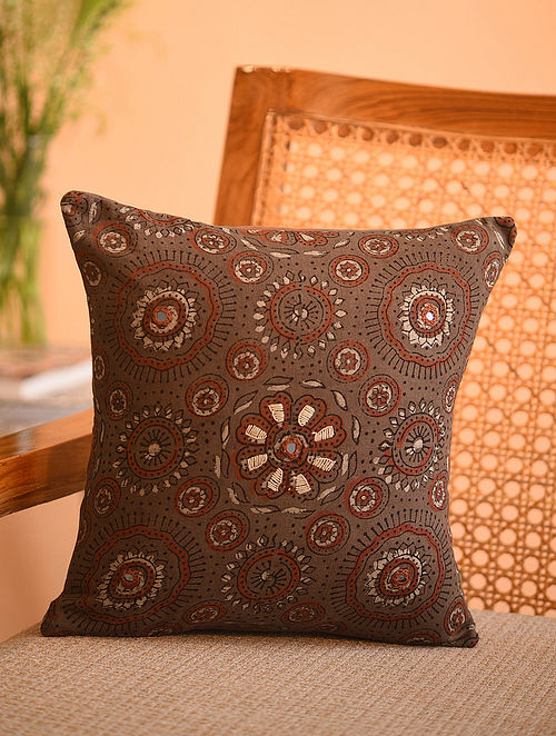 Multicolor Cotton Gudri Embroidered Mirror Work Ajrakh Printed Cushion Cover (L - 11in, W - 11in)