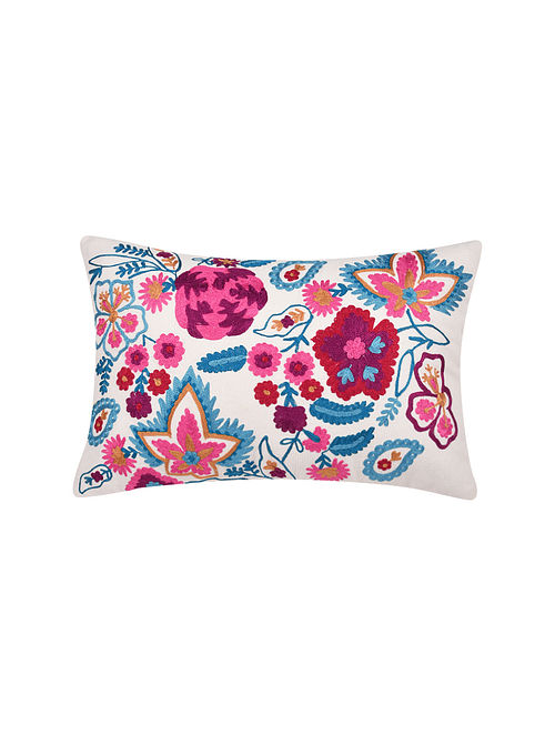 Multicolor Embroidered Cotton Cushion Cover (L-18in, W-12in)