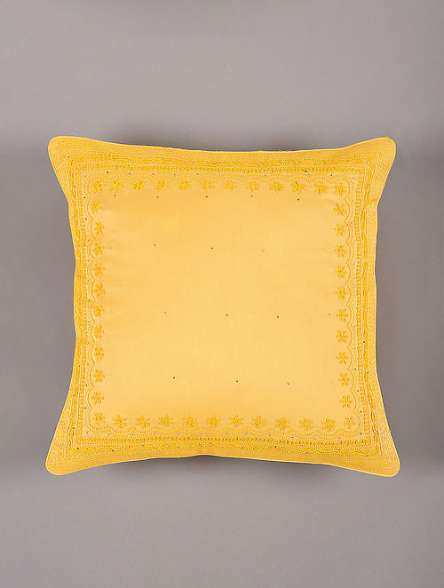 Hand Embroidered Chikankari Yellow Chanderi Cushion Cover (L - 16in,W - 16in)