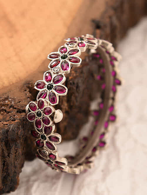 Maroon Temple Silver Openable Bangle (Size: 2/2)