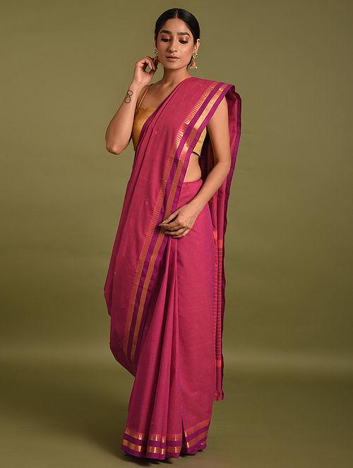 Pink Handwoven Cotton Saree