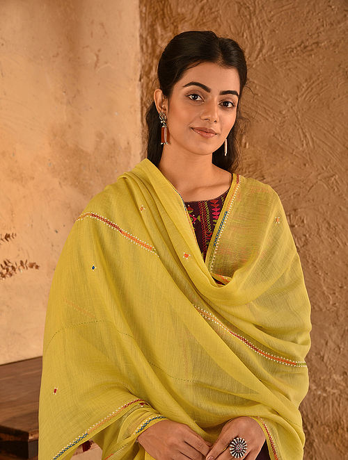 Yellow Soof Embroidered Silk Cotton Dupatta With Tassels