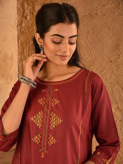 Red Soof Embroidered Viscose Silk Kurta