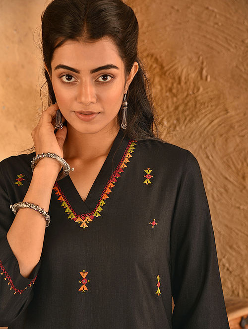 Black Soof Embroidered Viscose Silk Kurta