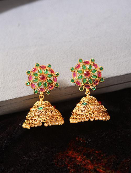 Green Pink Gold Tone Temple Work Jhumki Earrings