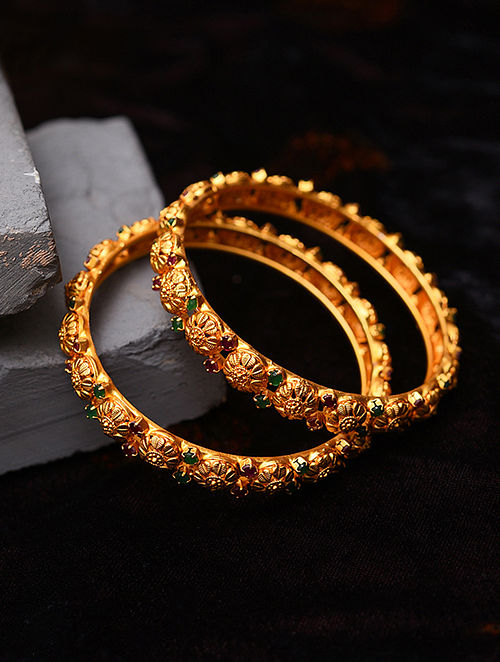 Green Pink Gold Tone Temple Work Bangles