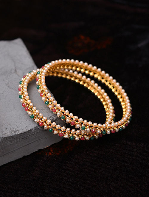Green Pink Gold Tone Handcrafted Bangles With Pearls