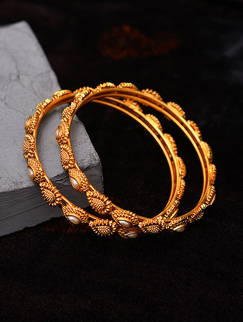 Gold Tone Temple Bangles With Pearls (Set of 2)