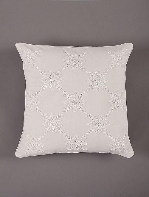 Hand Embroidered Chikankari White Cotton Cushion Cover (L - 16in,W - 16in)
