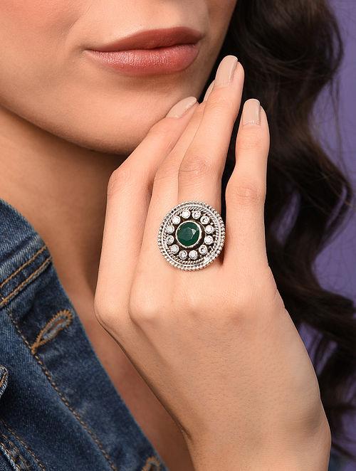 Green Tribal Silver Adjustable Ring
