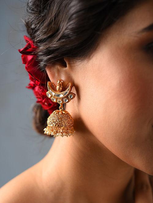 White Gold Tone Kundan Jhumki Earrings
