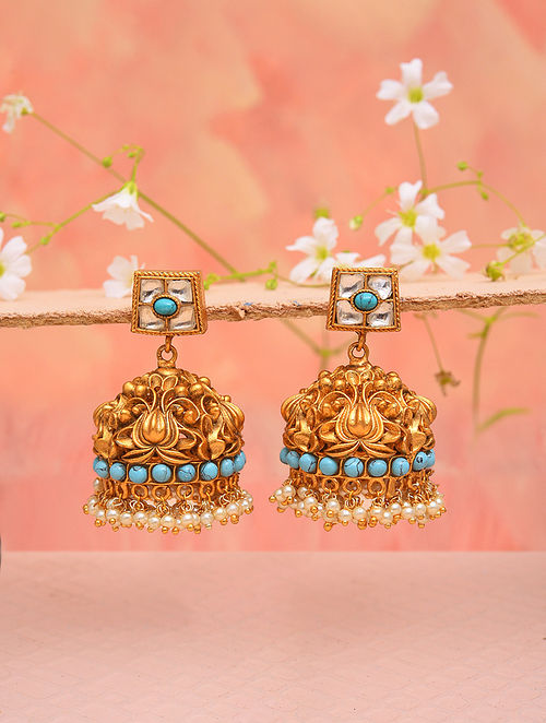 Turquoise Gold Tone Temple Work Jhumki Earrings With Pearls