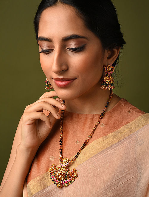 Green Pink Gold Tone Temple Mangalsutra Necklace With Jhumki Earrings