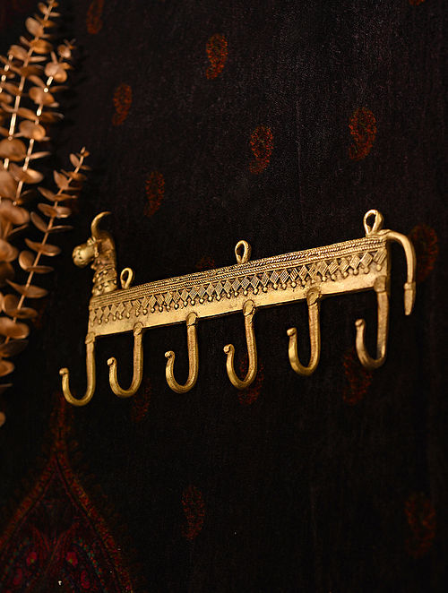 Brass Handcrafted Towel Hanger with Cow Face and 6 Hooks (L - 13.5in, W - 6.3in)