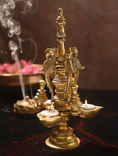 Brass Handcrafted Diya Stand with 3 Peacocks (L - 6.7in, W - 6.7in, H - 11in)