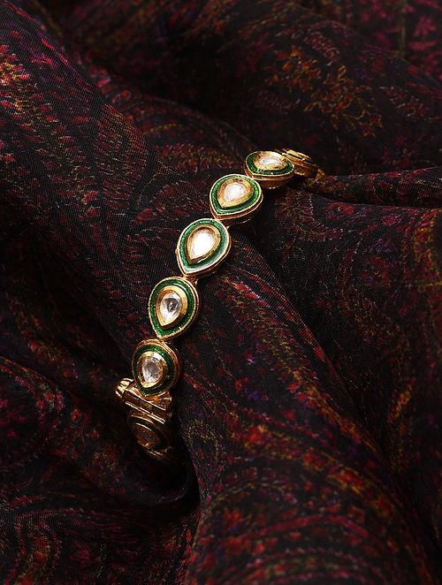 Green Meenakari Gold Tone Kundan Openable Bangle (Bangle Size-2/6)