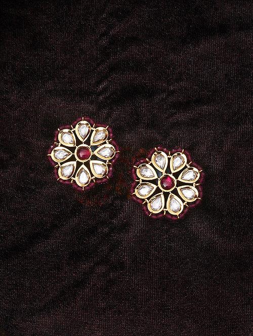 Pink Gold Tone Kundan Beaded Earrings