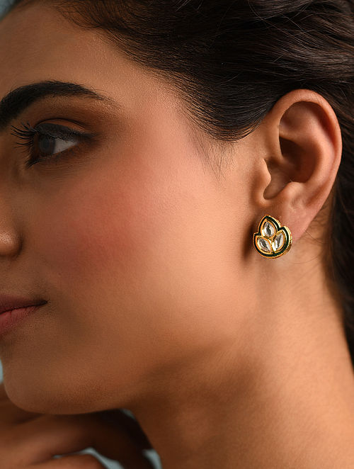 Gold Tone Kundan Meenakari Earrings