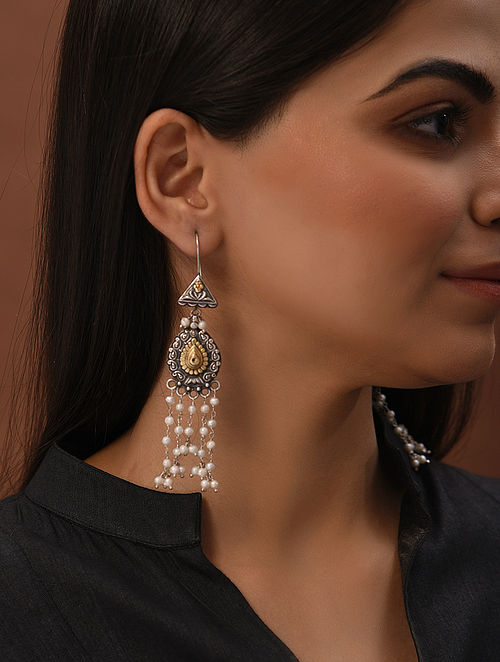 Dual Tone Tribal Silver Earrings with Freshwater Pearls