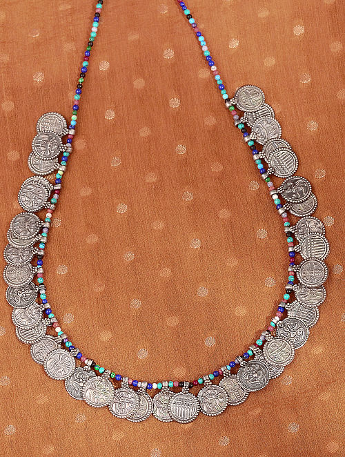 Multicolour Tribal Silver Necklace