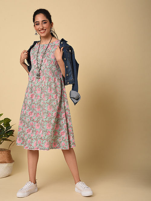 Blue-Pink Block Printed Cotton Dress with Pintucks