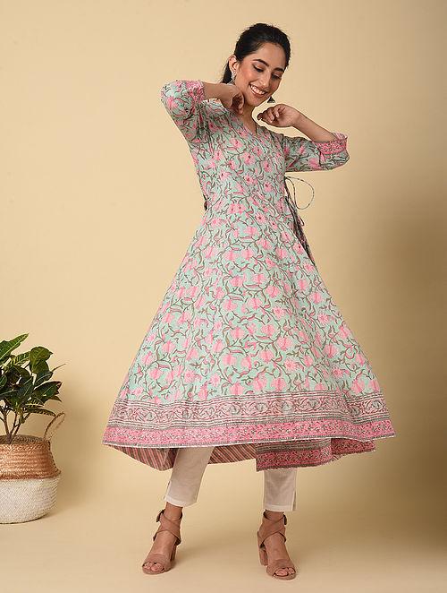 Blue-Pink Block Printed Cotton Angrakha