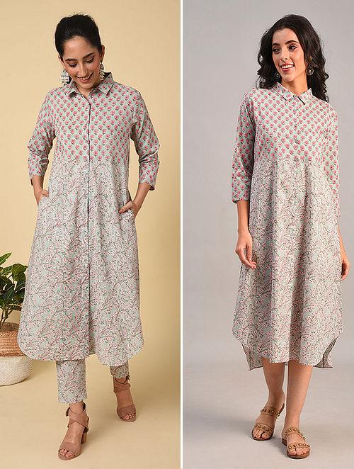 Blue-Pink Button Down Block Printed Cotton Kurta Dress