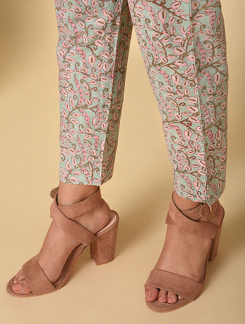 Blue-Pink Block Printed Elasticated Waist Cotton Pants