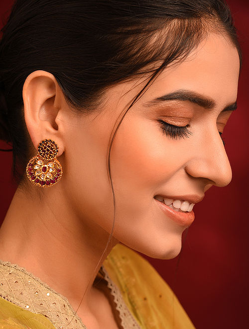 Pink Gold Tone Kundan Temple Earrings