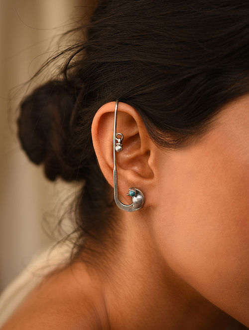 Tribal Silver Earcuffs with Turquoise (Pair of two)