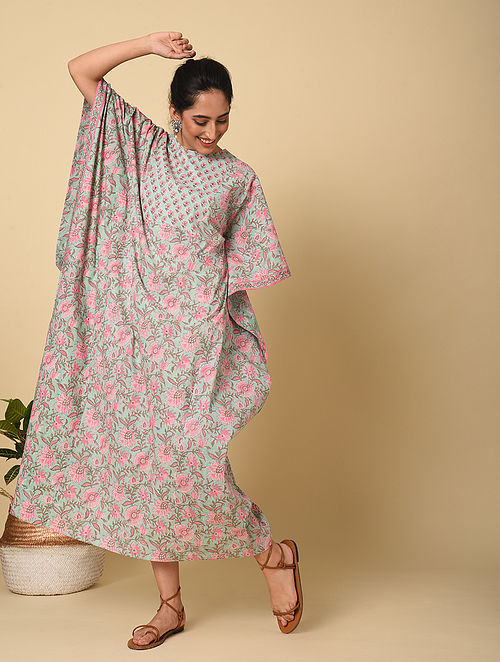 Blue-Pink Block Printed Cotton Kaftan with Sequin