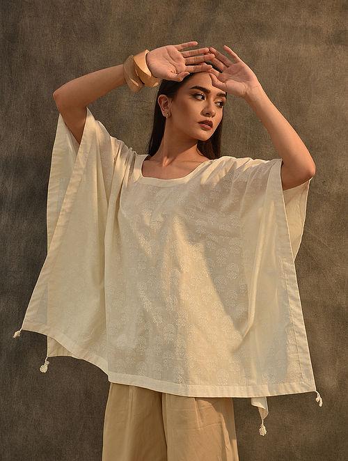 Ivory Block Printed Cotton Kaftan Top with Crochet Trim