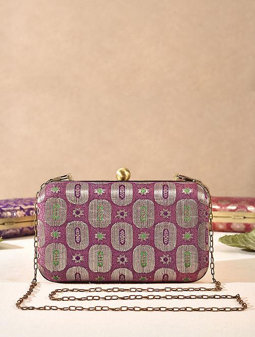 Purple Medium Sized Vintage Brocade Clutch