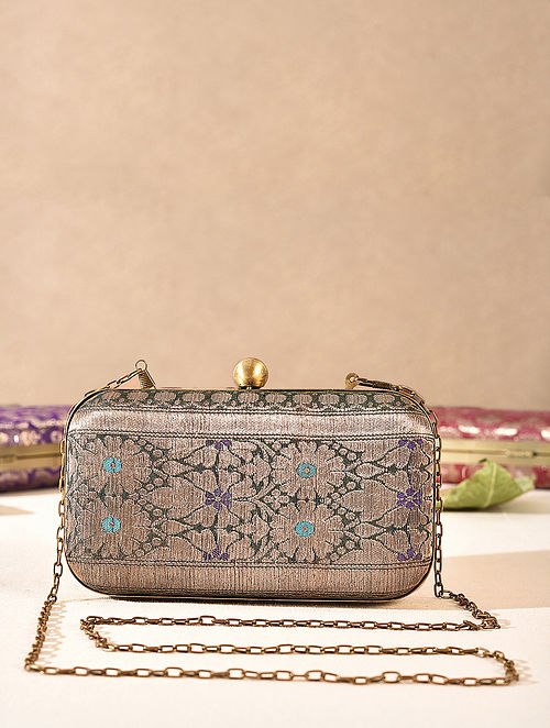 Green Small Sized Vintage Brocade Clutch