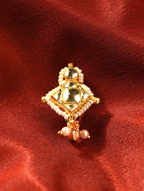 White Gold Tone Kundan Beaded Noseclip With Pearls