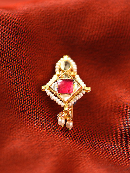 Red Gold Tone Kundan Noseclip With Pearls