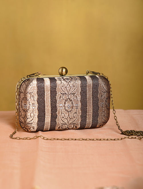 Brown Handcrafted Small Sized Vintage Brocade Clutch